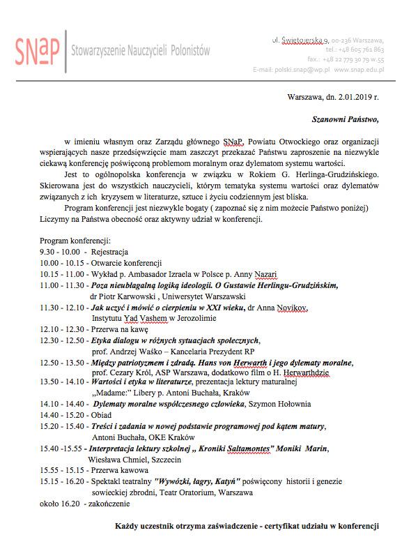 Program Konferencji Nauczycieli Polonistów iBibliotekarzy 2019