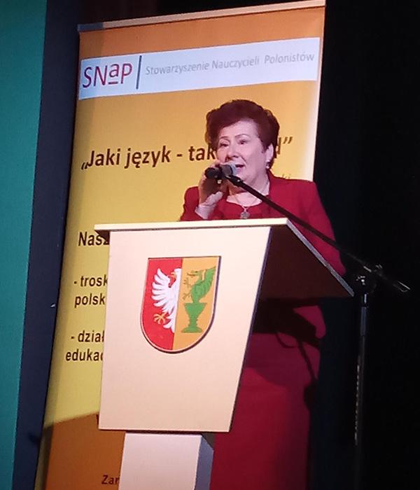Wiesława Penc – Chmiel wtrakcie Konferencji Nauczycieli Polonistów iBibliotekarzy 2019