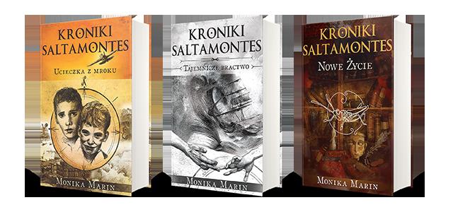Okładki książek zserii powieści dla młodzieży Kroniki Saltamontes